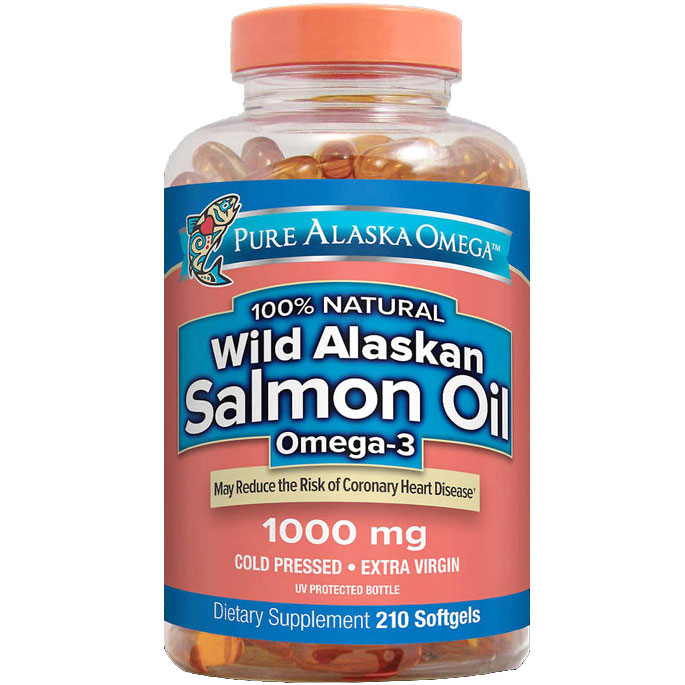Pure Alaska Omega 100% Natural Wild Alaskan Salmon Oil Omega-3 1000 mg, 210 Softgels