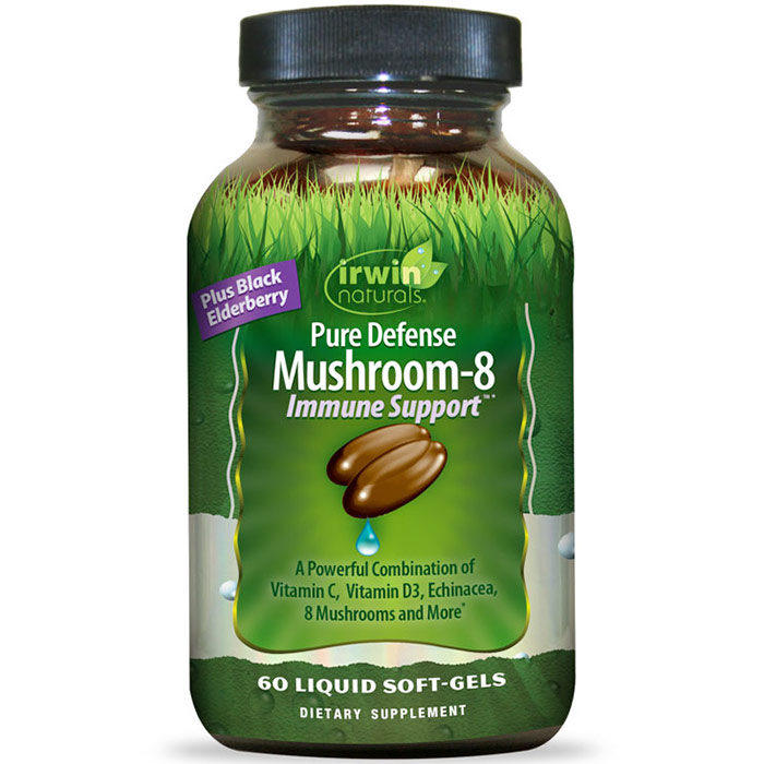 Pure Defense Mushroom-8 Immune Support, 60 Liquid Soft-Gels, Irwin Naturals