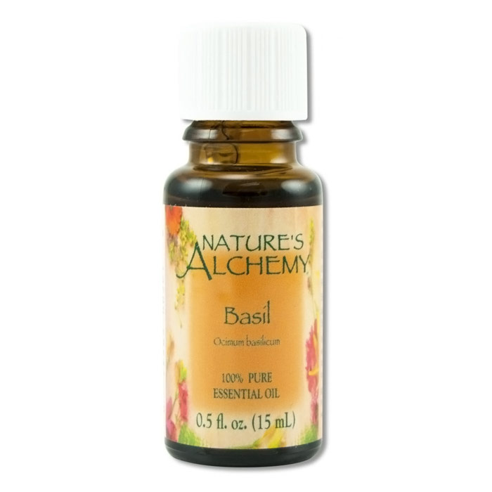 Pure Essential Oil Basil, 0.5 oz, Nature's Alchemy