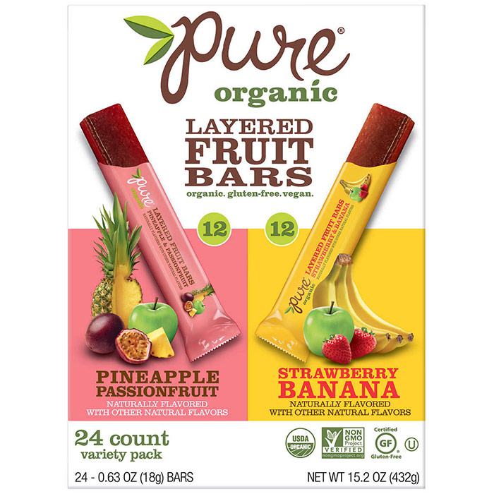 Pure Organic Layered Fruit Bars, Variety Pack, 0.63 oz x 24 Count