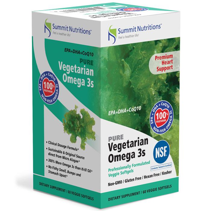 Pure Vegetarian Omega 3s (EPA + DHA + CoQ10), 60 Veggie Softgels, Summit Nutritions