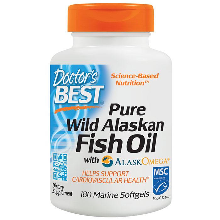 Pure Wild Alaskan Fish Oil with AlaskOmega, 180 Marine Softgels, Doctors Best