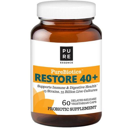 PureBiotics Restore 40+ Probiotic, Value Size, 60 Delayed Release Vegetarian Capsules, Pure Essence Labs