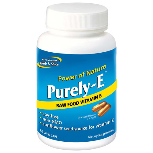 Purely-E, Sunflower Seed Vitamin E, 60 Capsules, North American Herb & Spice