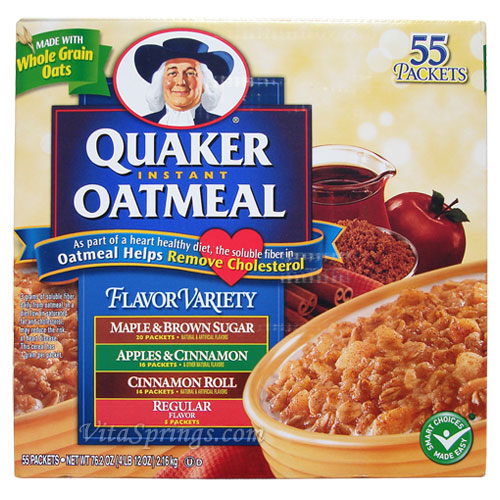 Quaker Instant Oatmeal Flavor Variety Pack, 55 Packets Quaker Instant Oatmeal Maple And Brown Sugar