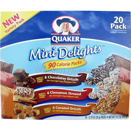 Quaker Mini Delights 90 Calorie Packs, New Variety Pack, 20 Packs (400 g)