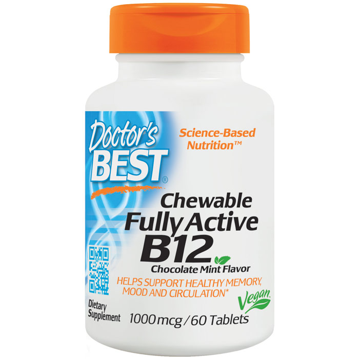 Chewable Fully Active B12 1000 mcg, Chocolate Mint Flavor, 60 Tablets, Doctors Best