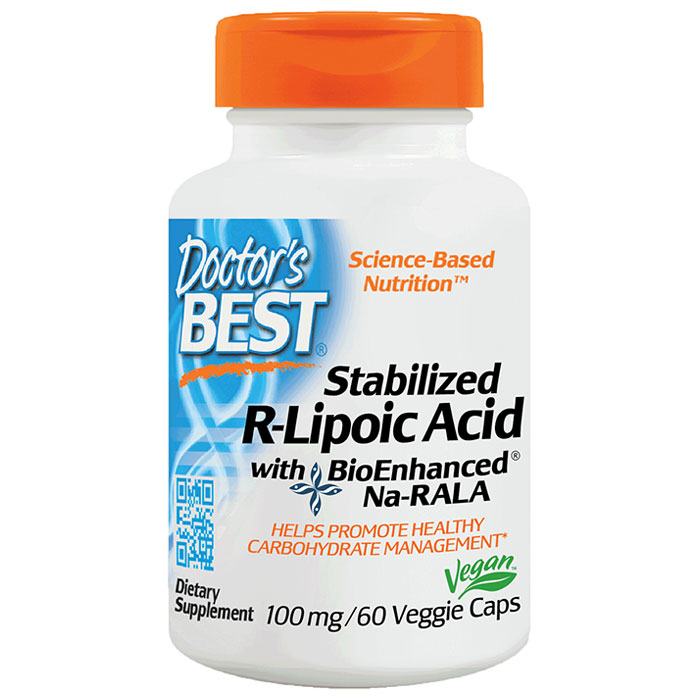Stabilized R-Lipoic Acid (RLA) Na-RALA 100 mg, 60 Veggie Caps, Doctors Best