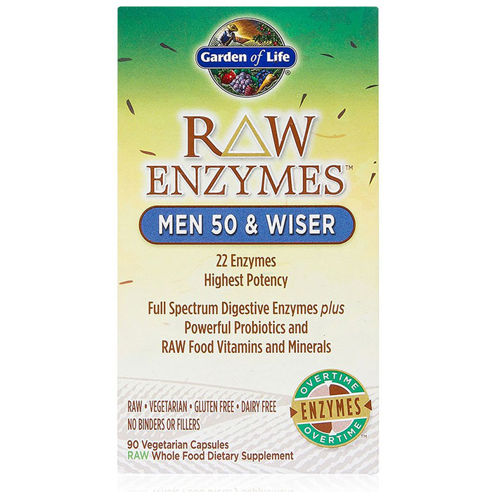 RAW Enzymes for Men 50 & Wiser, 90 Vegetarian Capsules, Garden of Life