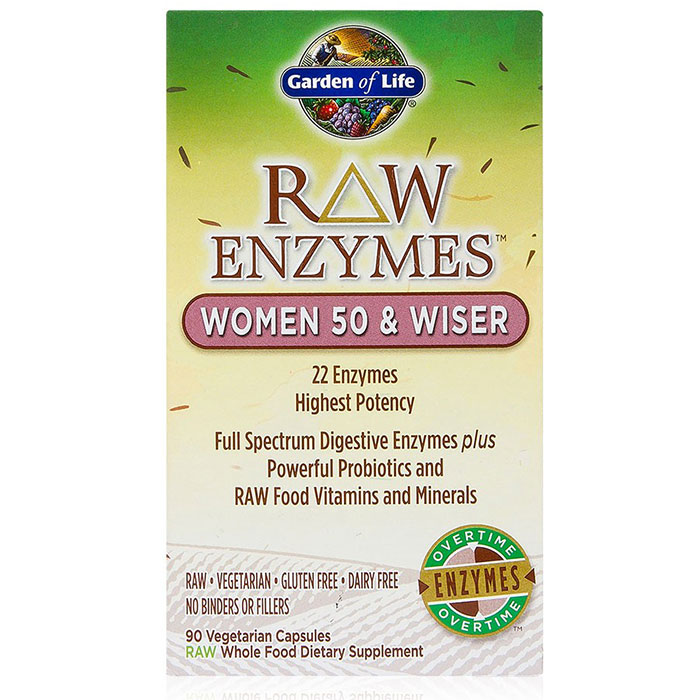 RAW Enzymes for Women 50 & Wiser, 90 Vegetarian Capsules, Garden of Life