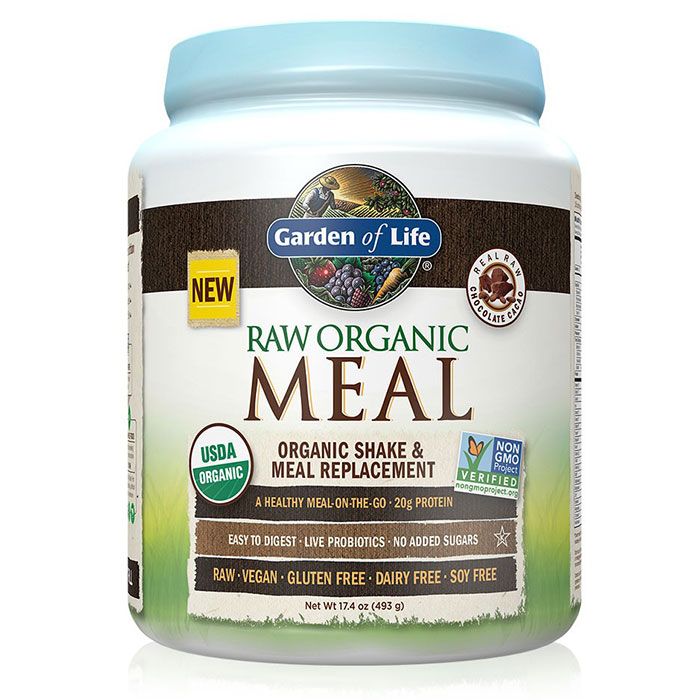 RAW Meal - Chocolate Cacao, A Healthy Meal-On-The-Go, 493 g (14 Servings), Garden of Life