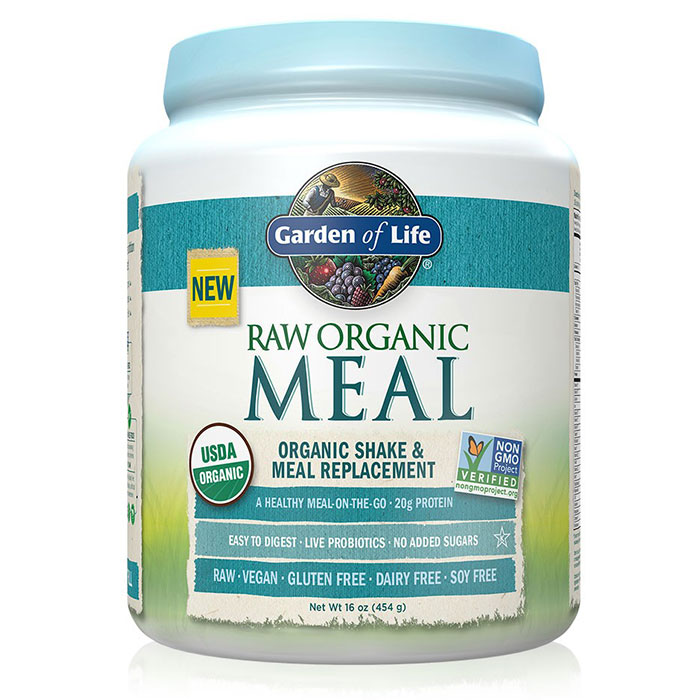 RAW Meal - Unflavored, Organic Shake & Meal Replacement, 454 g (14 Servings), Garden of Life
