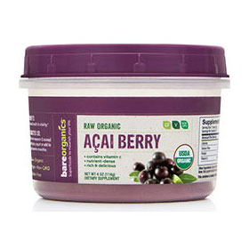 Raw Organic Acai Berry Powder, 4 oz, BareOrganics Superfoods