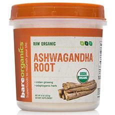Raw Organic Ashwagandha Root Powder, 8 oz, BareOrganics Superfoods