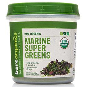 Raw Organic Marine Super Greens Powder, 8 oz, BareOrganics Superfoods