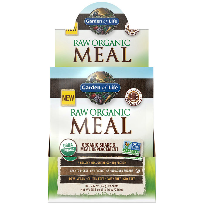Raw Organic Meal, Shake & Meal Replacement, Chocolate Cacao, 2.6 oz x 10 Packets, Garden of Life