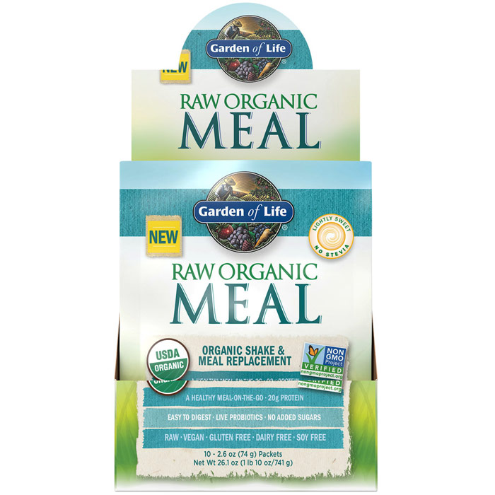 Raw Organic Meal, Shake & Meal Replacement, Lightly Sweet, 2.6 oz x 10 Packets, Garden of Life