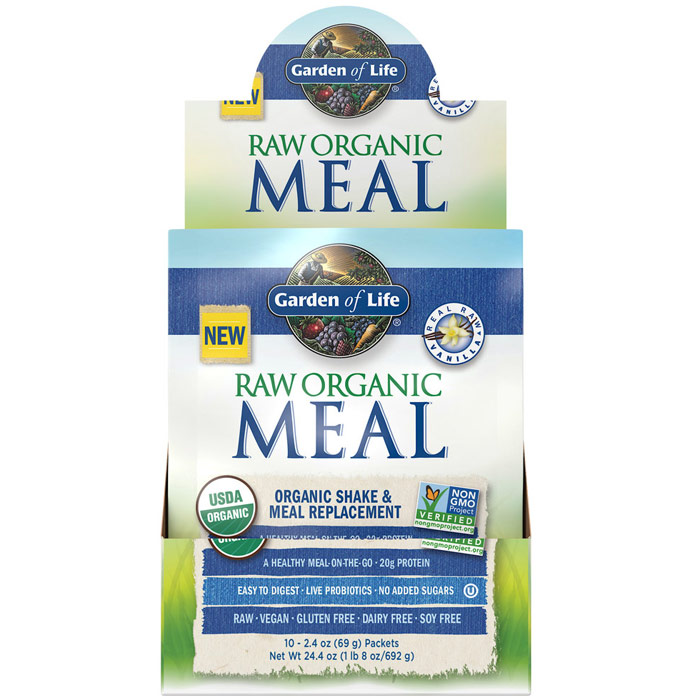 Raw Organic Meal, Shake & Meal Replacement, Vanilla, 2.4 oz x 10 Packets, Garden of Life