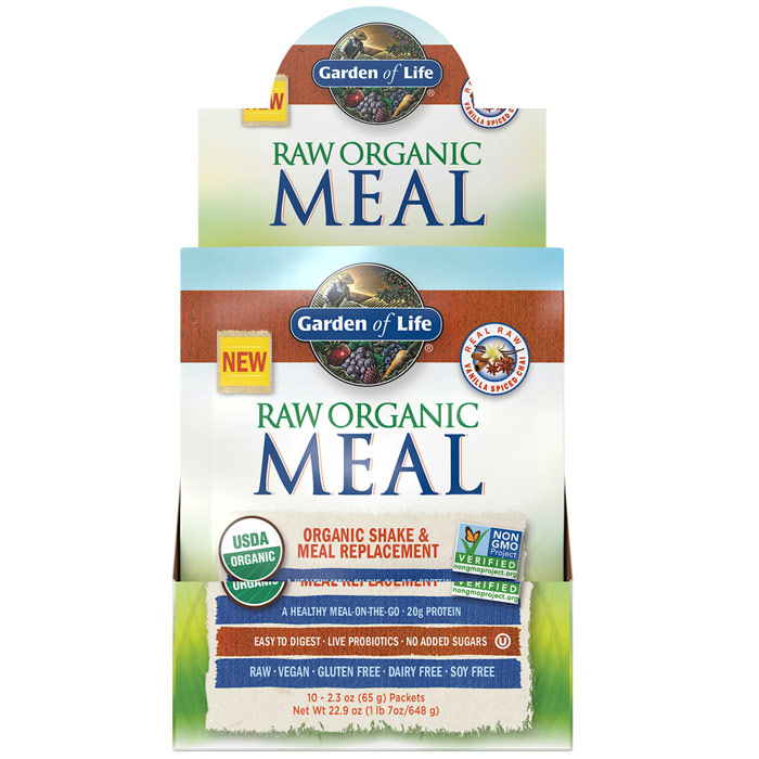 Raw Organic Meal, Shake & Meal Replacement, Vanilla Spiced Chai, 2.3 oz x 10 Packets, Garden of Life