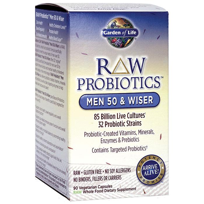 RAW Probiotics for Men 50 & Wiser, 90 Vegetarian Capsules x 3 Packs, Garden of Life