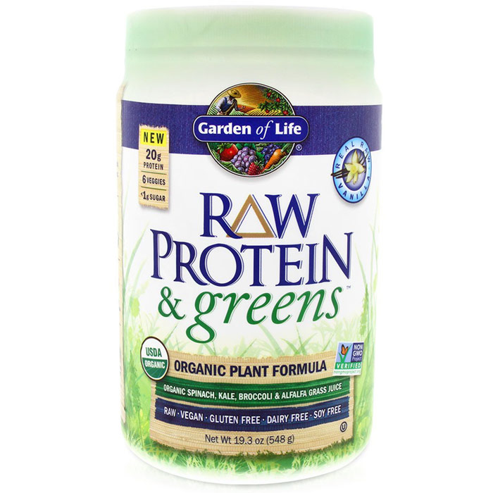 RAW Protein & Greens Organic Powder - Vanilla, 19.3 oz (548 g), Garden of Life