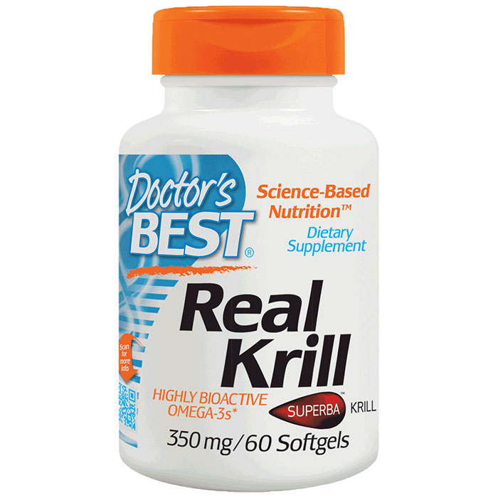 Real Krill 350 mg (Antarctic Krill Oil Complex), 60 Softgels, Doctors Best