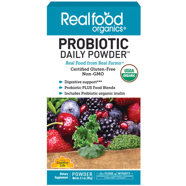 Realfood Organics Probiotic Daily Powder, 3.1 oz, Country Life