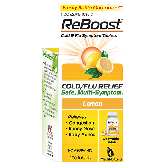 Reboost Cold & Flu Relief Tablets - Lemon, 100 Chewable Tablets, MediNatura