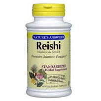 Reishi Mushroom Extract Standardized 60 vegicaps from Natures Answer