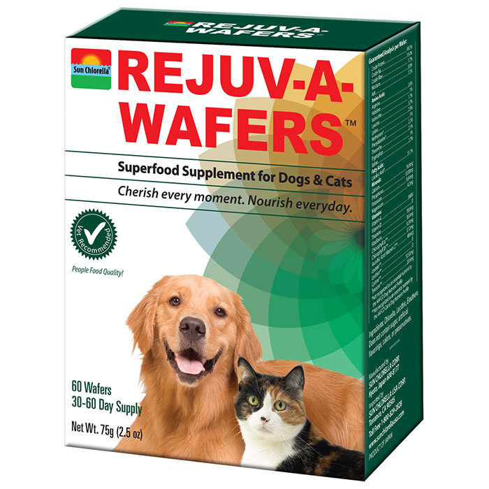 Rejuv-A-Wafers Superfood Supplement for Dogs & Cats, 60 Wafers, Sun Chlorella