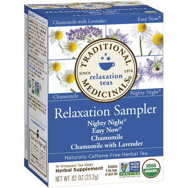 Relaxation Herb Tea Sampler, 16 Tea Bags, Traditional Medicinals Teas