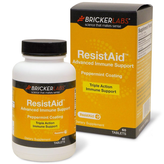 ResistAid Advanced Immune Support, Peppermint Coating, 60 Tablets, Bricker Labs