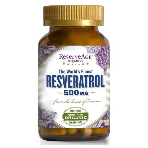 Resveratrol 500 mg High Potency, 60 Veggie Capsules, ReserveAge Organics