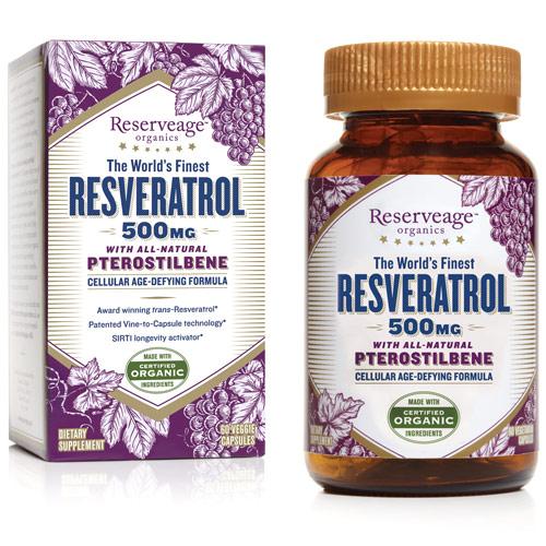 Resveratrol with Pterostilbene 500 mg, 60 Veggie Capsules, ReserveAge Organics