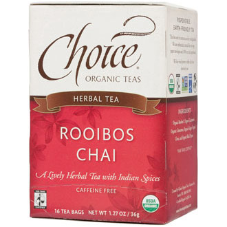 Rooibos Chai Herbal Tea, 16 Tea Bags, Choice Organic Teas