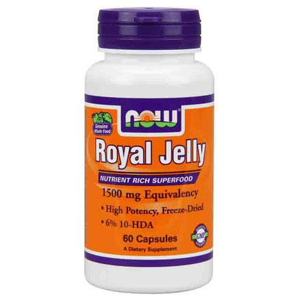Royal Jelly 1500mg Freeze Dried 60 Caps, NOW Foods