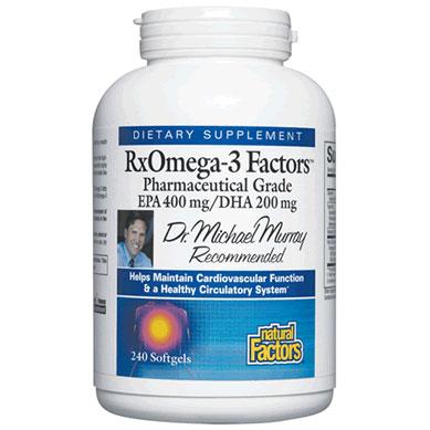 RxOmega-3 Factors, Fish Oil EPA 400/DHA 200, 120 Softgels, Natural Factors