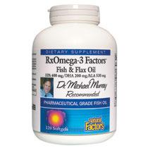 RxOmega-3 Factors Fish & Flax Oil, EPA 400/DHA 200/ALA 530, 120 Softgels, Natural Factors