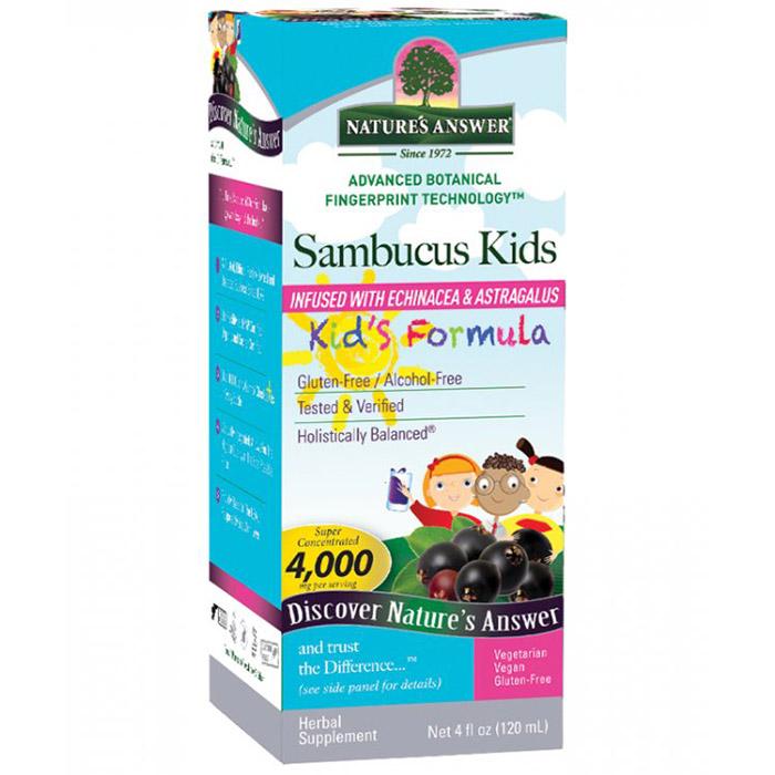 Sambucus Kids Formula, Black Elderberry Extract, 4 oz, Natures Answer