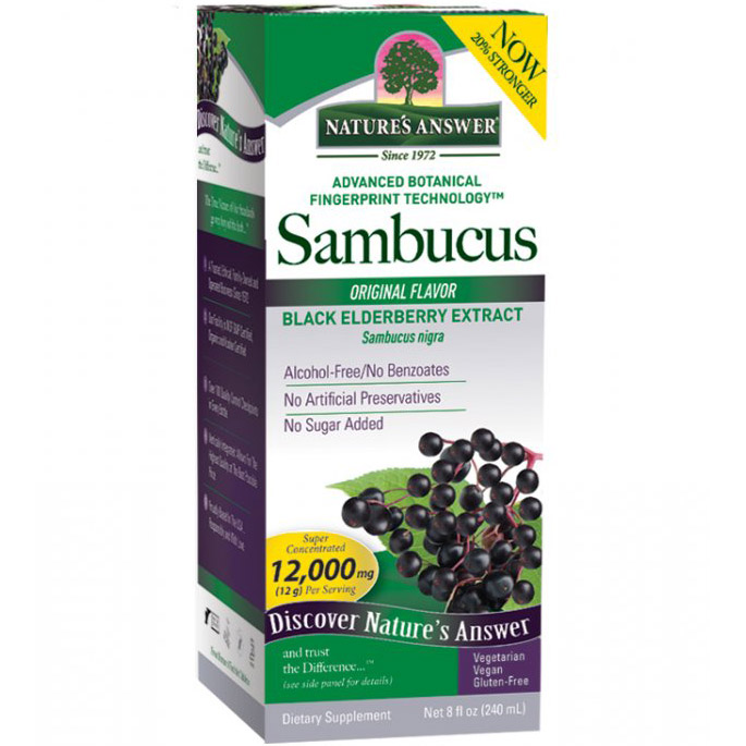 Sambucus Black Elderberry Extract Liquid - Original, 8 oz, Natures Answer