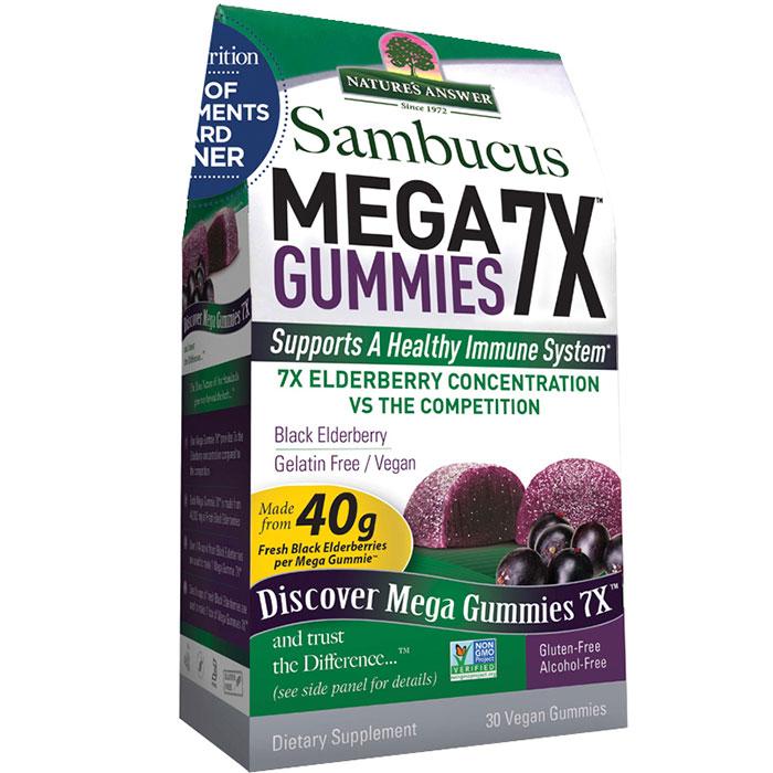 Sambucus Mega Gummies 7X, Chewable Black Elderberry, 30 Gummies, Natures Answer