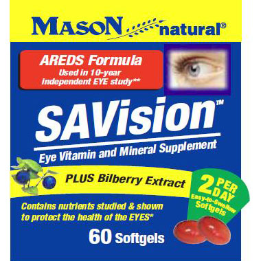 SAVision, AREDS Formula with Bilberry Extract, 60 Softgels, Mason Natural