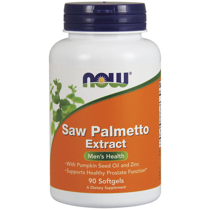 Saw Palmetto Extract 80 mg, With Pumpkin Seed Oil & Zinc, 90 Softgels, NOW Foods