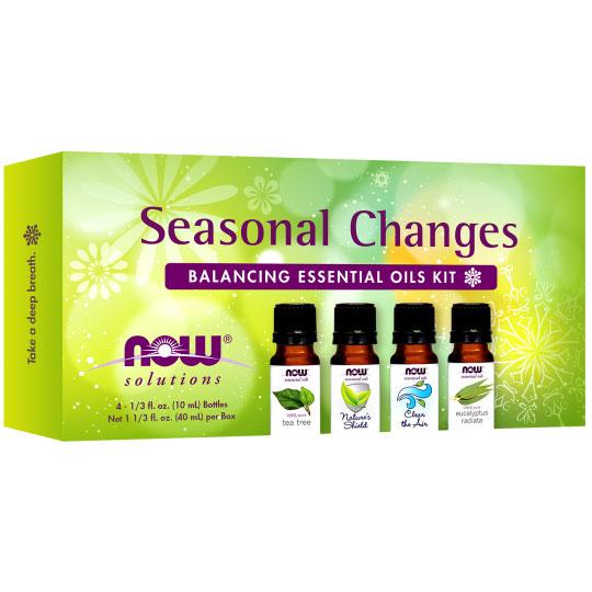 Essential Oils Kit - Seasonal Changes Balancing, 4 Bottles, NOW Foods