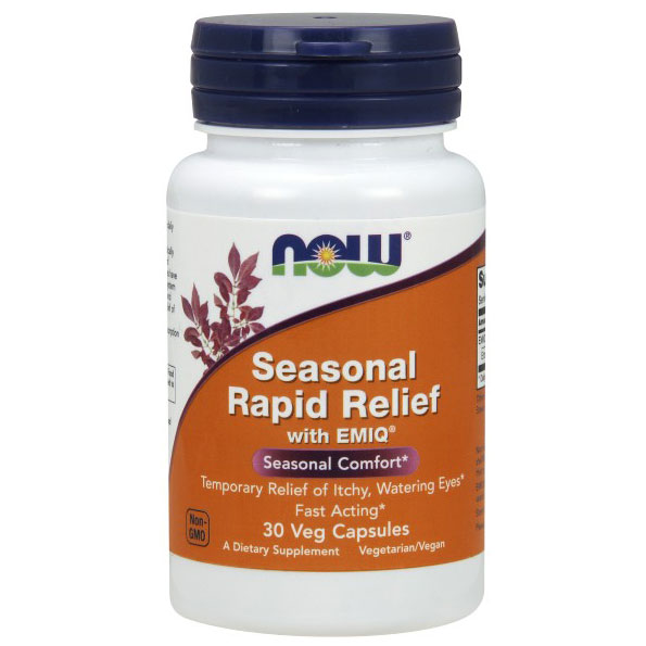 Seasonal Rapid Relief, With EMIQ, 30 Vegetarian Capsules, NOW Foods