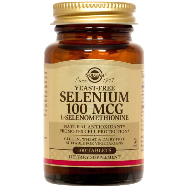 Yeast-Free Selenium 100 mcg, 100 Tablets, Solgar
