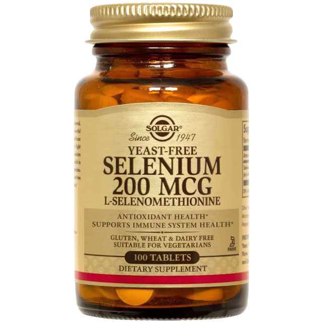 Yeast-Free Selenium 200 mcg, 100 Tablets, Solgar
