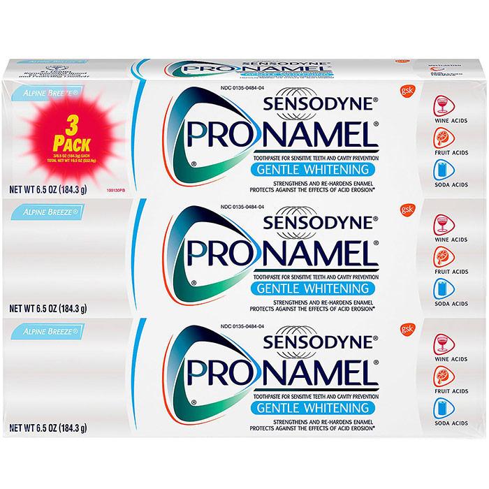 Sensodyne Pronamel Gentle Whitening Toothpaste for Sensitive Teeth & Cavity Prevention, Alpine Breeze, 6.5 oz x 3 Pack