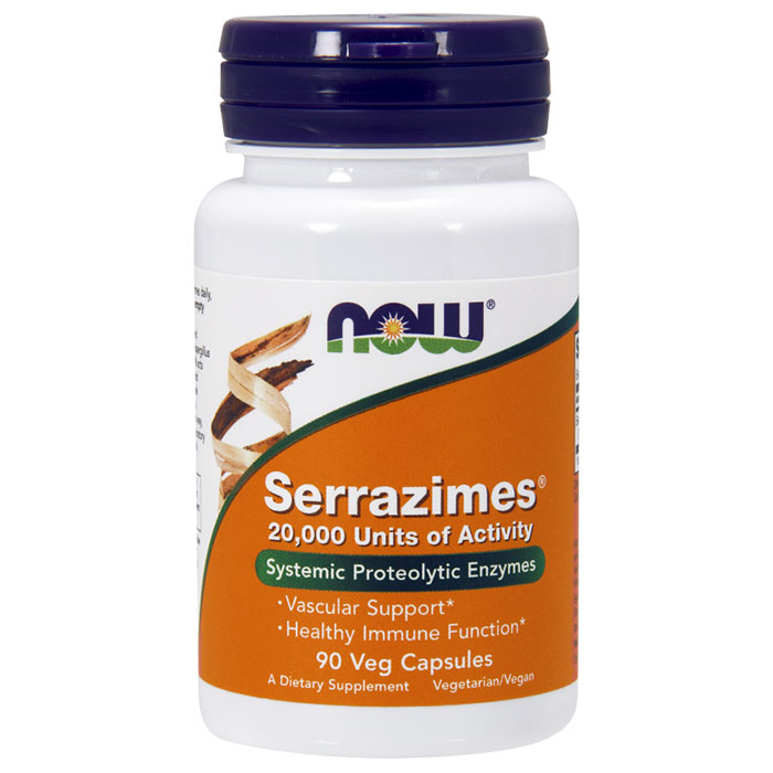 Serrazimes 20,000 Units, Systemic Proteolytic Enzymes, 90 Veg Capsules, NOW Foods