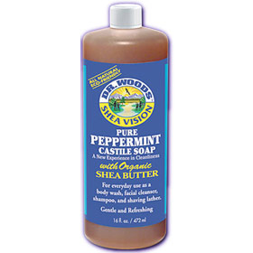 Shea Vision, Pure Peppermint Castile Soap with Organic Shea Butter, 16 oz, Dr. Woods